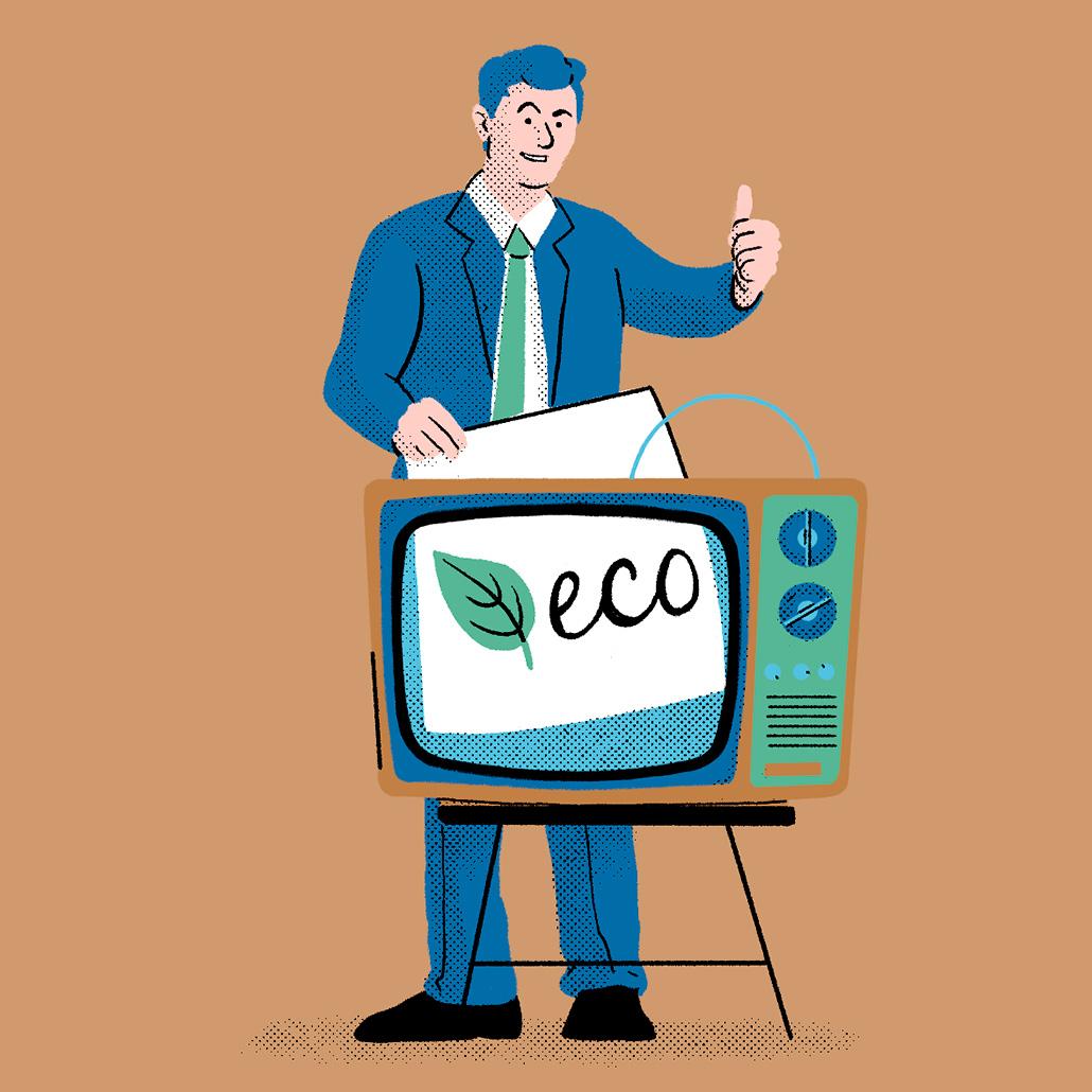 Ilustraciones para ADICAE sobre el greenwashing y la economía circular